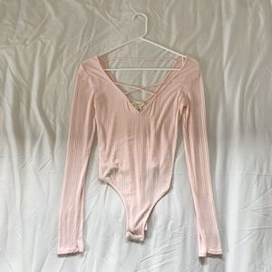 Light Pink BodySuit w/ Crisscross in Front